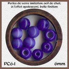 PC6-I*** 40 PERLES RONDES OEIL DE CHAT 6MM BLEU INDIGO** x40