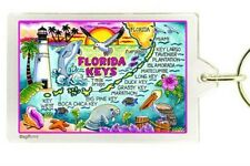 "FLORIDA KEYS MAP ACRYLIC RECTANGULAR KEYCHAIN 2.5"" X 1.5"""