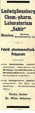 """Ludwig Sensburg München Chem.-pharm. Labor """"Sahir"""" Historische Reklame von 1908"""