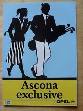 OPEL ASCONA EXCLUSIVE Ltd Edn 1988 French Mkt Sales Brochure - Vauxhall Cavalier