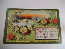Vintage Postcard Good Wishes for the New Year Made in Germany