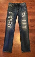 American Eagle Men's Jeans 30 x 34 Blue Slim Straight Distressed Denim
