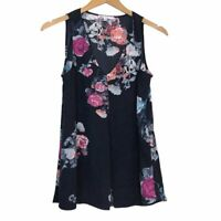 DR2 DANIEL RAINN Inverted Pleat Sleeveless Blouse Navy Blue Pink Floral Small