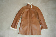 Burberry Brown Long Leather Zip Sheepskin Shearling Jacket Coat Womens UK 8 US 6