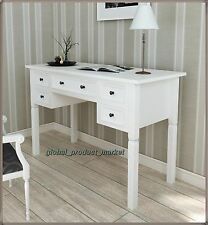 Shabby Chic Computer Desk Large Vintage Storage White Office Table Retro Drawers