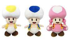 NEW Sanei Super Mario All Star Yellow Toad & Blue Toad & Toadette Plush Dolls