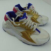 Nike Huarache Run GS Youth Shoes Size 5.5Y White Gold Blue 654280-109