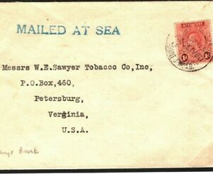 ST.VINCENT Cover New Brunswick CANADA Paquebot *MAILED AT SEA* USA 1929 Q17b
