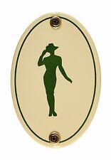 Emaille Türschild Piktogramm Damen oval 7x10 cm Schild Emailleschild WC Toilette