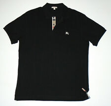 BURBERRY BRIT s/s Polo Shirt SOLID BLACK w NOVA CHECK Plaid Embroidered NEW 2XL