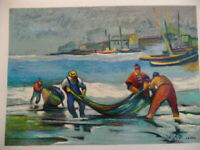 Avi Schwartz Oil-colored lithography The Fisherman Signed and numbered 284/900.