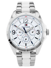 TOMMY HILFIGER WOMENS SILVER/WHITE WATCH | NEW 1781768 QUARTZ ANALOGUE RRP £250
