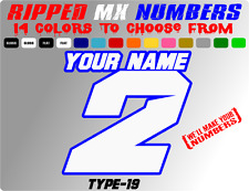 CUSTOM 2 COLOR NAME MOTORCYLE NUMBER PLATE CAR RACING DECALS BIKE STICKERS SX RC