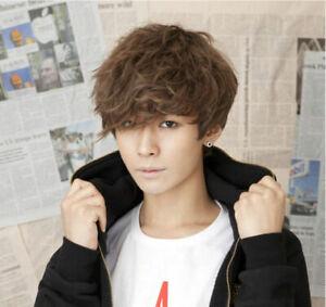 Hot Handsome Boys Wig Korean Fashion Short Men Hair Cosplay Wigs + free wig cap