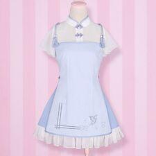 Qipao Cheongsam Lolita Girls Vintage Dress Chiffon Summer Tassel Dress Chinese