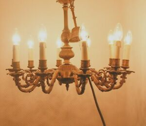 Vtg French Bronze & Copper 10 Arms Chandelier France Art Nouveau Ceiling Lamp