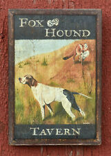 "Medium Repro-Original Art - Trade Sign ""Fox & Hound Tavern"" On Wood Hunt Dog"