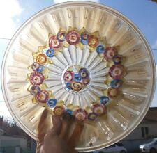 Vasque  art déco verre pressé moulé Années 30 Fleurs polychromes peinture émail
