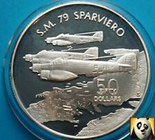 1991 MARSHALL ISLANDS $50 Dollars SM79 SPARVIERO Aircraft WWII Silver Proof Coin