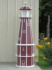 6' Octagon Electric and Solar Powered Poly Wood Lighthouse (Cherry/white trim)