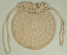Vintage Beige Crocheted Round Purse Handbag Lined Draw String Handles