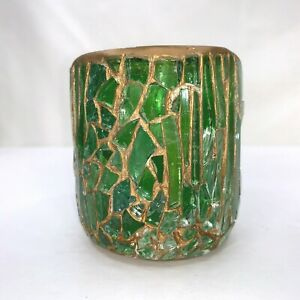 """Mosaic Candle Holder Votive Green Glass Hand Made 3"""" tall"""