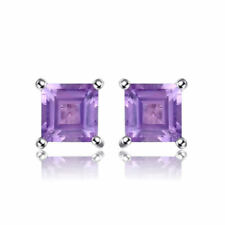 4mm Genuine Diamond Amethyst and Solid Sterling Silver Stud Fashion Earrings