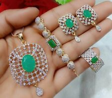 Emerald Green Stone Fashion Jewelry Ad Ring Bracelets Pendant Necklace Earring