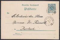 DR 5 Pf. Ziffer Ganzsache Reichspost mit K1 Oberuhlingen - Durlach 1892, GA