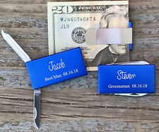 2 Personalized Engraved Money Clips Knife Groomsman Best Man Gifts Blue
