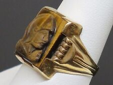 Art Deco Tiger's Eye Cameo 10K Yellow Gold Men's Ring, 4.9g, Size 8.5