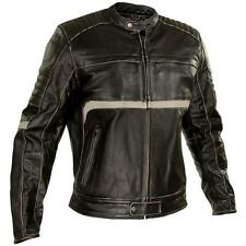 Xelement Men's Charcoal Dark Brown Leather Armored Motorcycle Jacket size XL