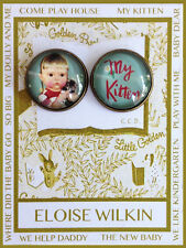 MY KITTEN Pair 20mm GLASS DOME Studio BUTTONS Vintage ELOISE WILKIN BOOK COVER