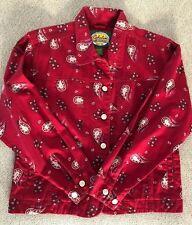 Cabelas Jean Denim Jacket Women Button Pockets Cotton Red Paisley Floral Small