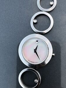 Ladies Movado Ono Mother of Pearl Diamond Stainless Steel Watch 84.E4.1856