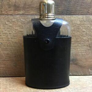 DANTE Hip Flask Clear Glass Bottle With Black Vinyl Leather Case Vintage