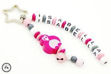 Taschenbaumler/Schlüsselanhänger mit Namen ★ Pinguin/Glöckchen in grau/pink  ★