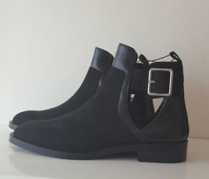 ZARA BLACK Ankle Boots /Shoes With Buckle And Cut Out Details  SIZES 3&5&6&7