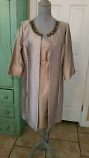 TIANA B., BEADED GOLD METALLIC SHEATH DRESS & MATCHING LONG SLEEVE COAT, 12P