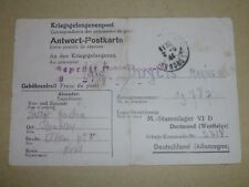 2WW FRENCH P.O.W. mail in Stammlager (STALAG) VI D Dortmund Westfalen 1944.