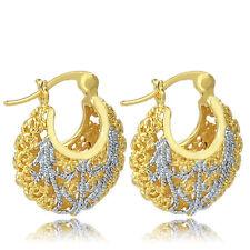 womens gold filled ear carved hoop earrings Filigree silver plated cute earings