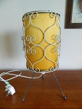Lovely Vintage Retro 60's Table lamp Atomic Eames Era Yellow Shade Cream