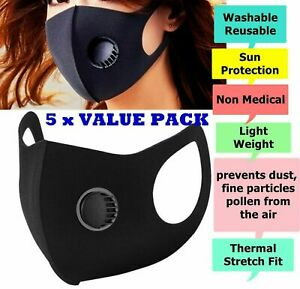 5 X Breathable Air Flow Mask Washable Face Mouth Protection With Filter 3D UK