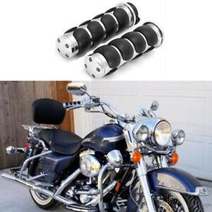 "Chrome Motorcycle 1"" Handlebar Hand Grips For Harley Honda Kawasaki Suzuki"