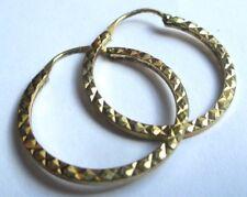 boucles d'oreilles percées bijou vintage plaqué or anneaux gravés relief 1631