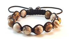 MEN'S PICTURE JASPER Gemstone Beads Shamballa Wrap Yoga Beaded Jewelry Bracelet
