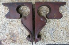 """PAIR ANTIQUE VICTORIAN OAK CORBELS BRACKETS APPLIED CARVINGS 10"""" high as is"""