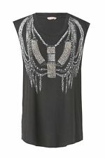 SASS AND BIDE BLACK ''Tough It Out'' OVERSIZED TOP T-SHIRT WITH EMBELLISHMENT S