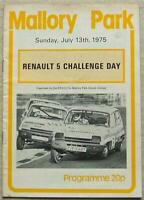 MALLORY PARK 13 Jul 1975 RENAULT 5 CHALLENGE DAY Car Races Official Programme