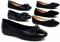 Women Ladies New Flat Pumps Glitter Ballet Ballerina Dolly Bridal Shoes Size 3-8